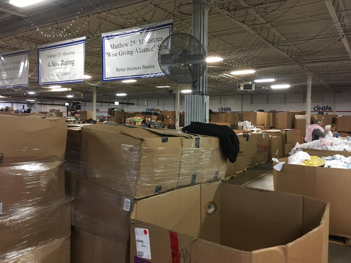 Clothes boxed at Matthew 25 Ministries